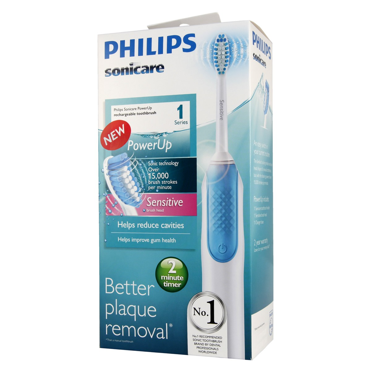 Philips Sonicare Power Up Rechargeable Toothbrush - Sensitive Brush Heads