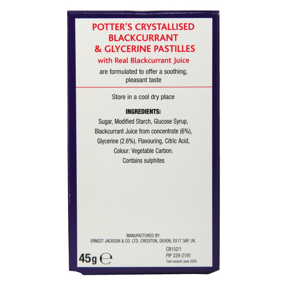 Potter`s Crystallised Blackcurrant & Glycerine Pastilles