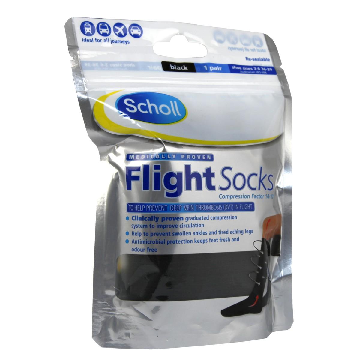 Scholl Flight Socks Black 3-6