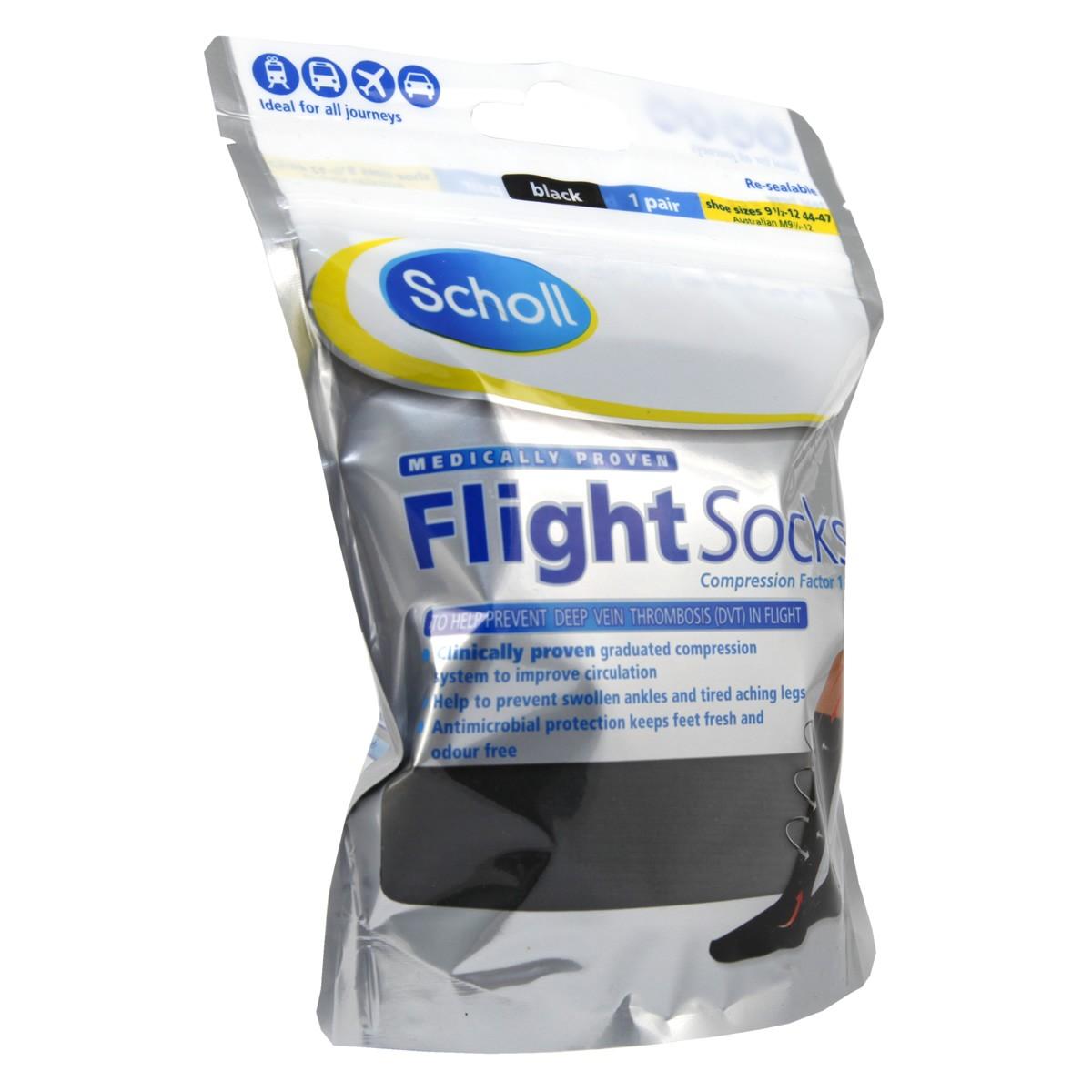 Scholl Flight Socks Black 9.5 -12