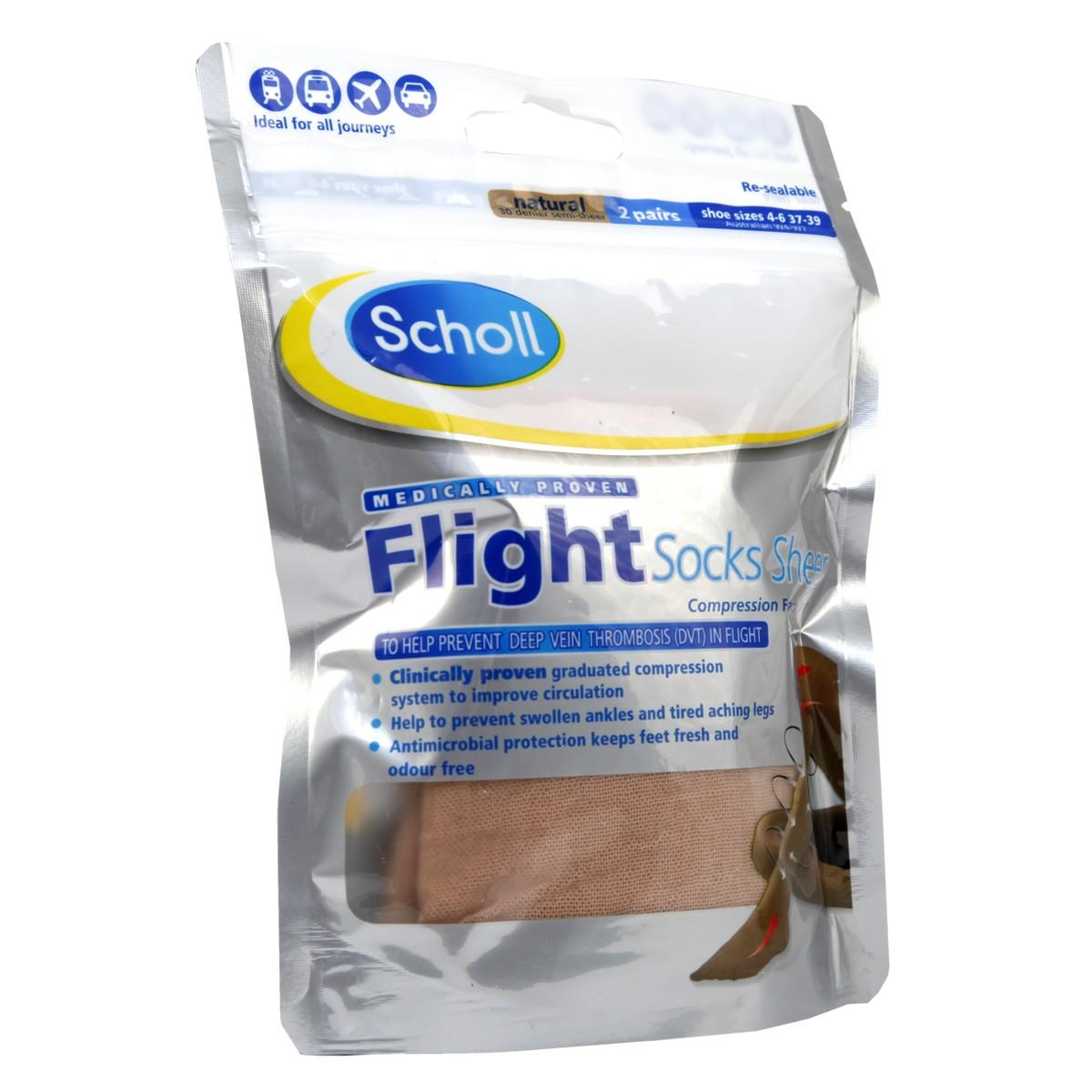 Scholl Flight Socks Sheer 4-6 / Natural