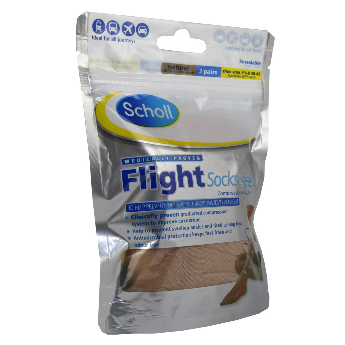 Scholl Flight Socks Sheer 6.5-8/ Natural