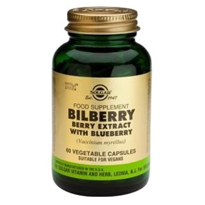 Solgar SFP Bilberry Berry Extract with Blueberry Vegetable Capsules