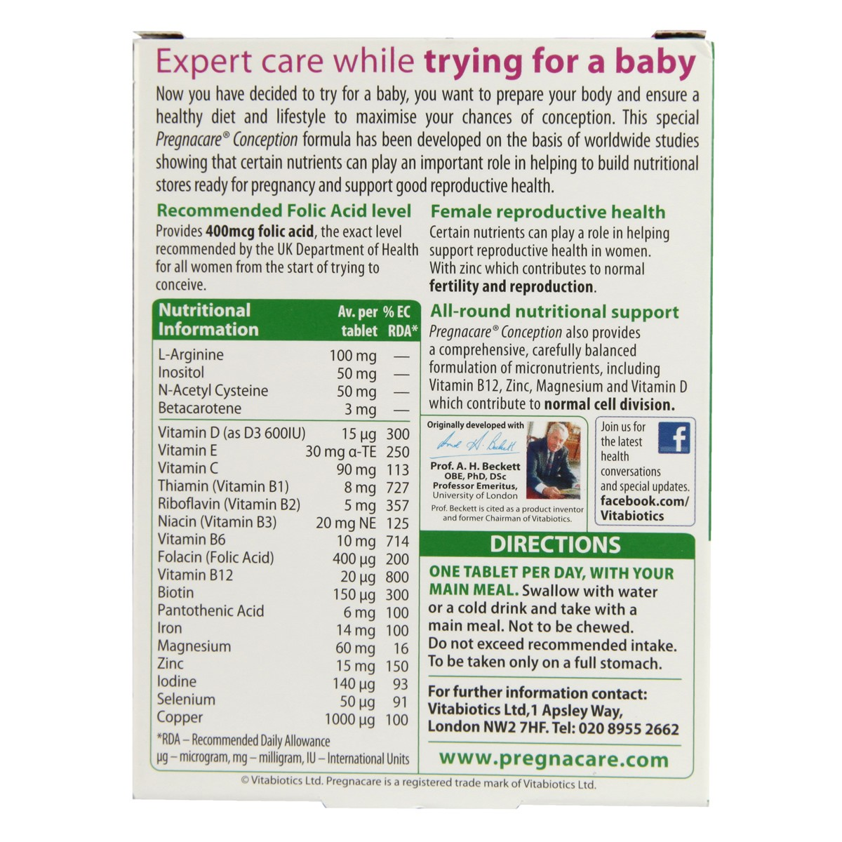 Vitabiotics Pregnacare Conception