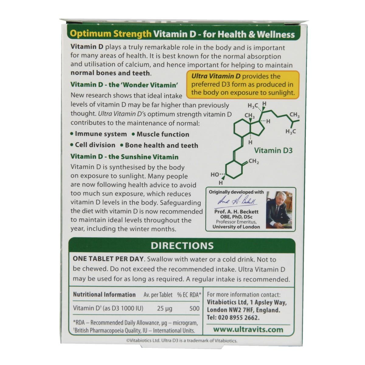 Vitabiotics Ultra Vitamin  D3 1000iu Tablets