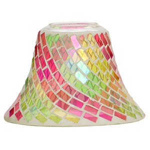 Yankee Candle Pink & Green Glass Mosaic Large Shade